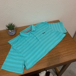 Under Armour men's polo, striped turquoise, XL.